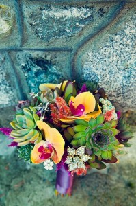Succulent and orchid bouquet