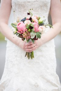 Rustic Vintage Bridal bouquet in shades of rose, plum and silver