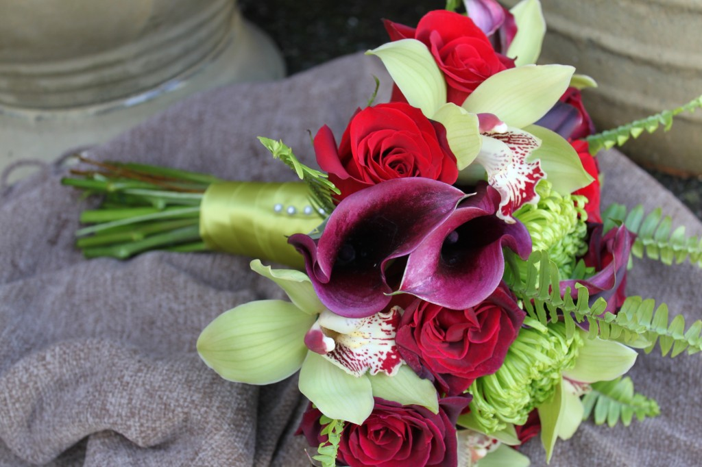 Red, Eggplant and Lime Green Wedding Bouquet