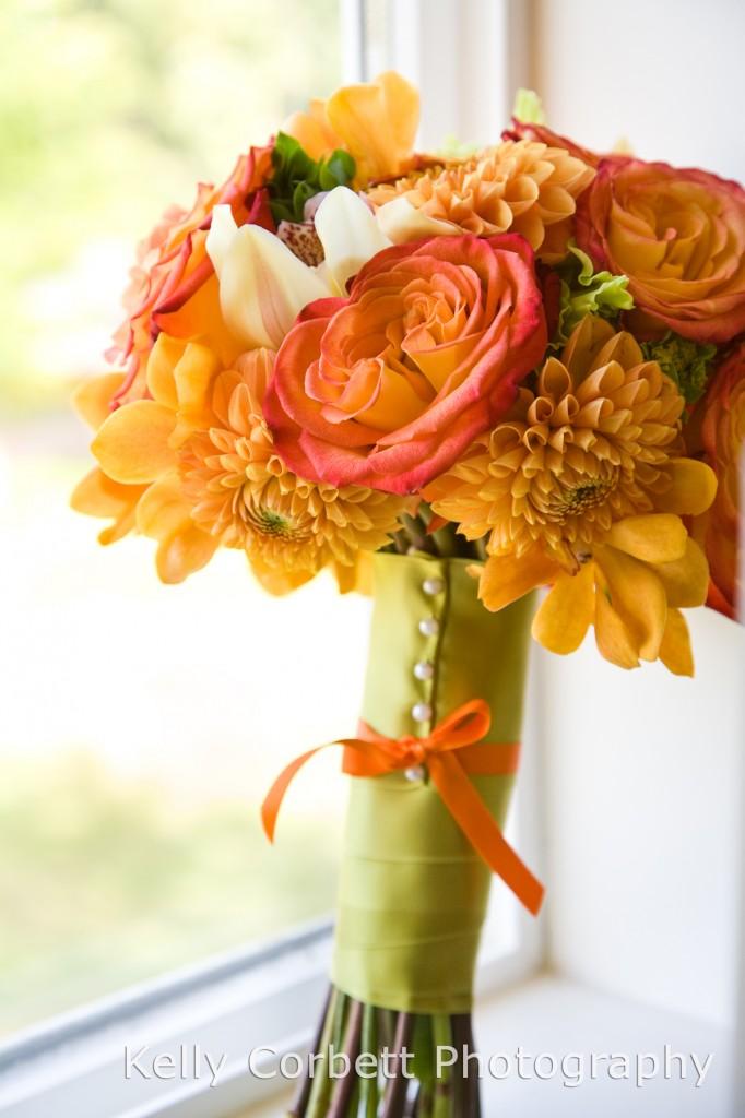 Oranges- roses, dahlias, orchids