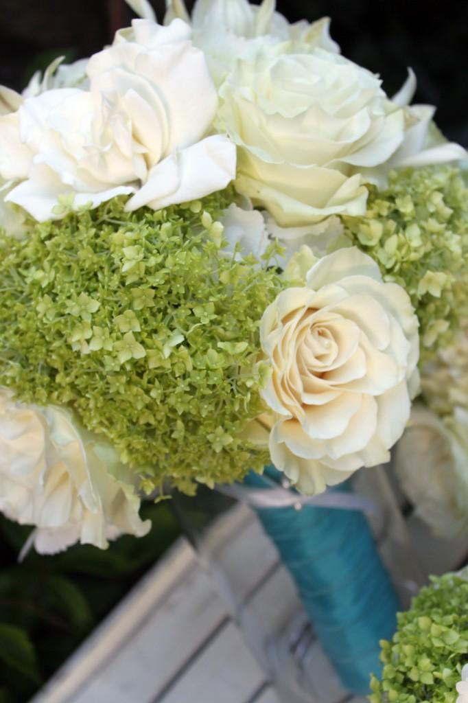 Annabell hydrangea, roses, gardenias and lisianthus wedding bouquet