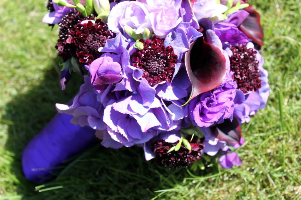 Purple and Burgundy Bridal Bouquet