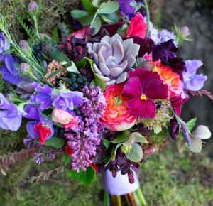 Canada's most beautiful wedding bouquets, pansies, sweet peas, lilac and succulents and garden roses.