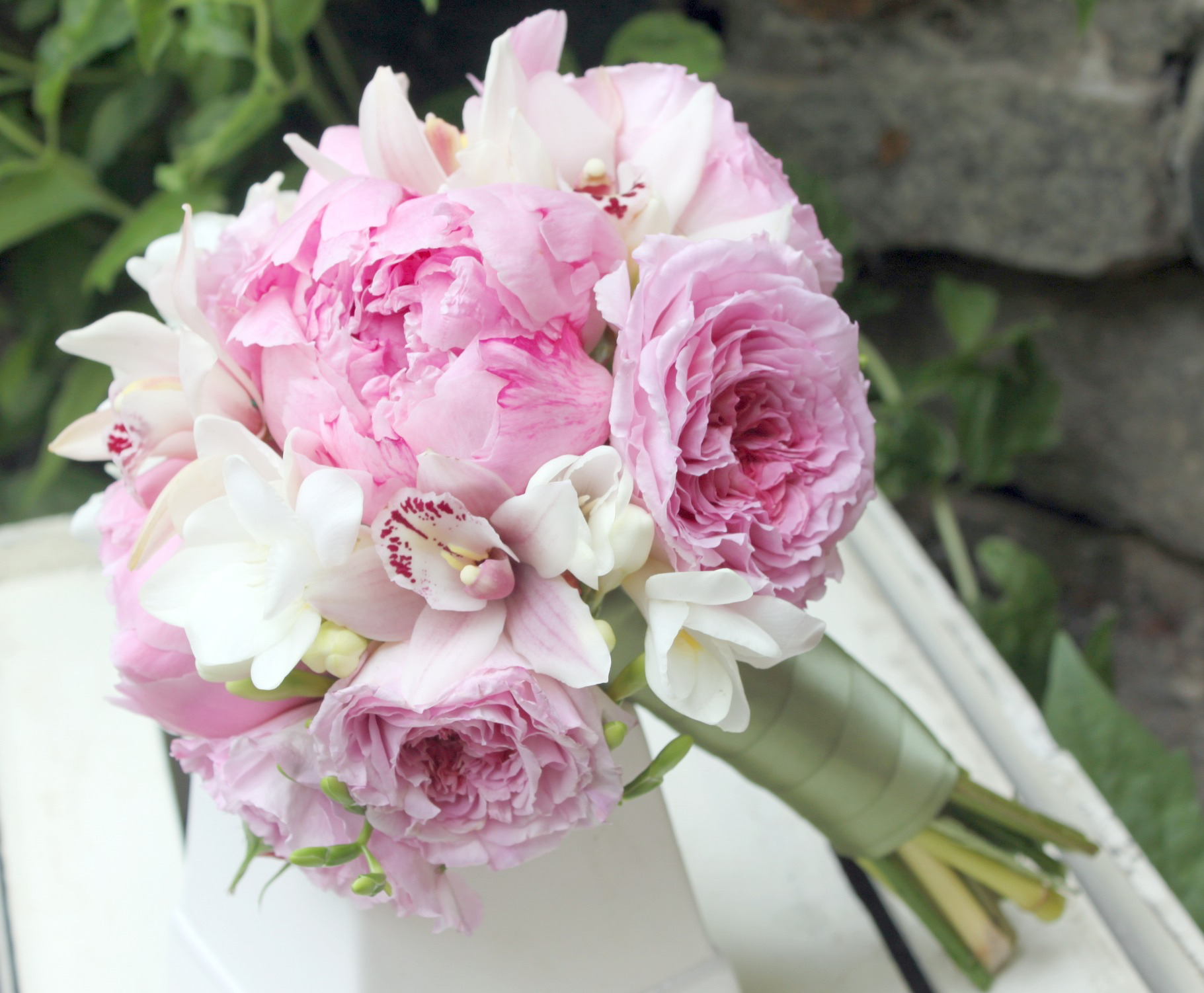 Peony and Garden Rose Bridal Bouquet by Foxgloves Flowers