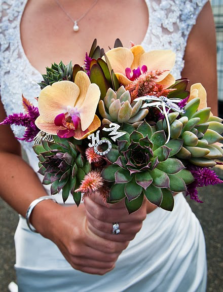 Succulents and Orchid Bouquet