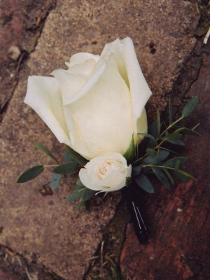 white rose boutonniere - Garden Rose Boutonniere