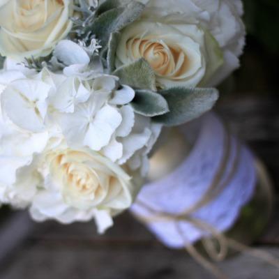 lambs ear softness - Garden Rose And Hydrangea Bouquet