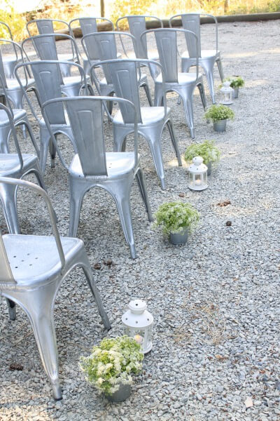 Table Posies as Aisle Markers